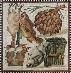 Fish and vegetables hanging up in a cupboard, still-life. Mosaic, Roman artwork, 2nd century CE. From a villa at Tor Marancia, near the Catacombs of Domitilla.